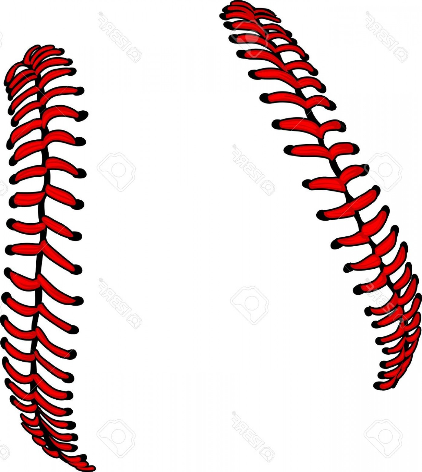 Laces Basball Vector: Photobaseball Laces Or Softball Laces Vector Image