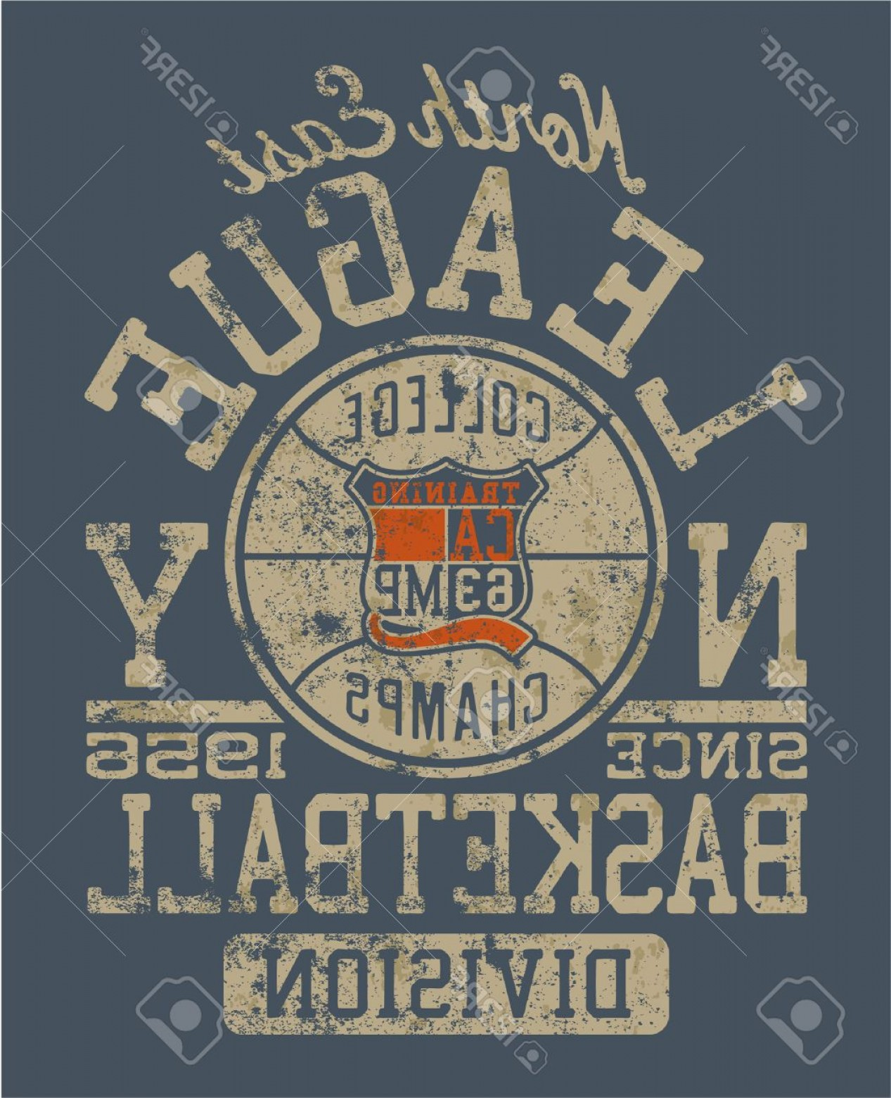 Vintage Basketball Vector: Photobasketball College League Vintage Vector Artwork For Boy Sportswear In Custom Colors Grunge Effect I