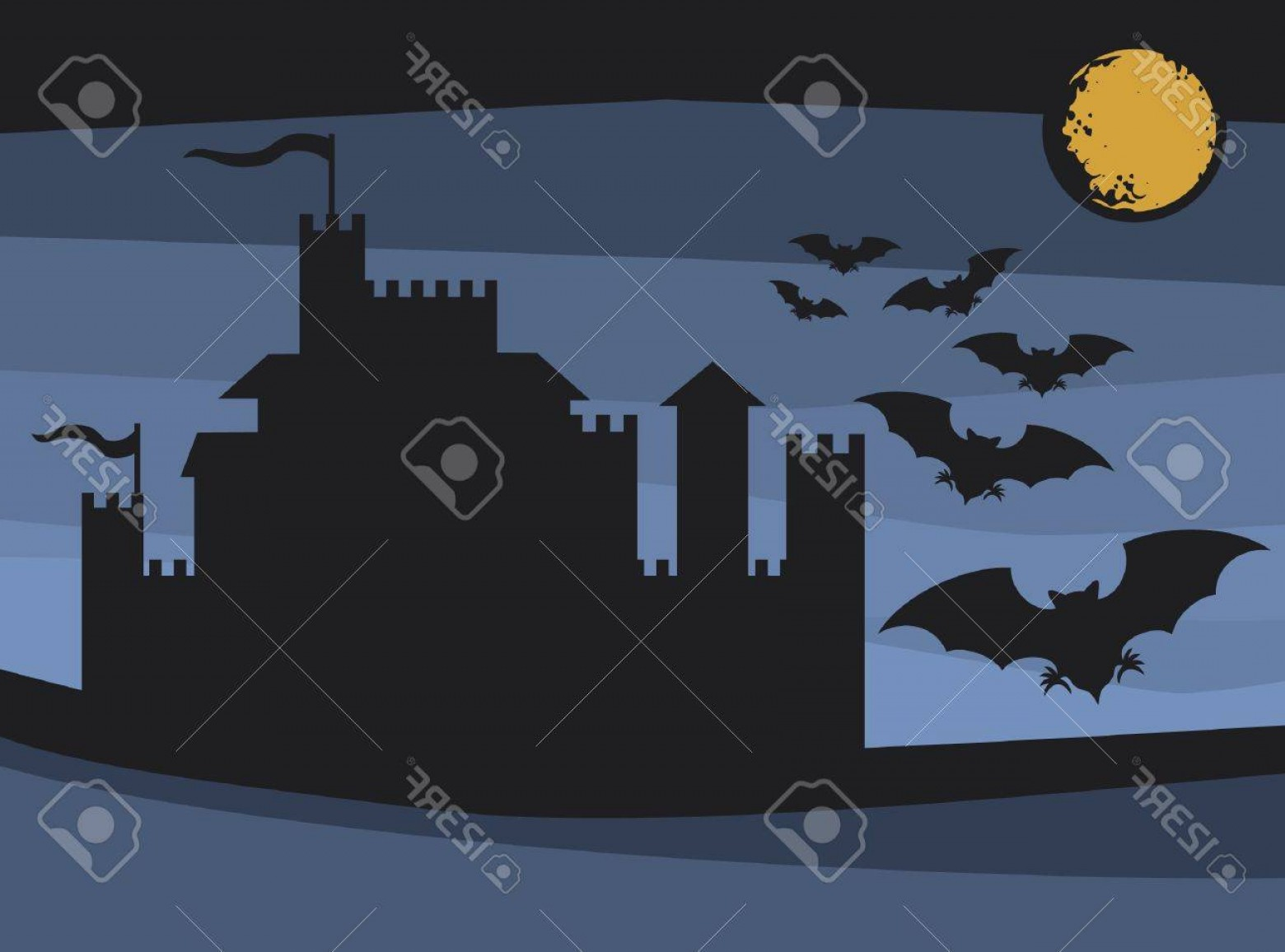 Vectors Fortress Flying: Photobats Flying In The Moonlight And Old Castle Flight Of A Bats Illustrations Of Halloween Night With B