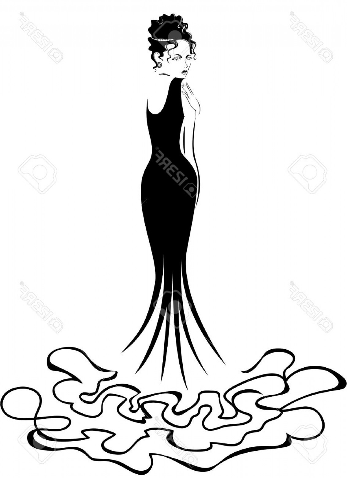 Vector Images Of Black And White Dresses: Photobeautiful Elegant Woman In A Long Black Dress