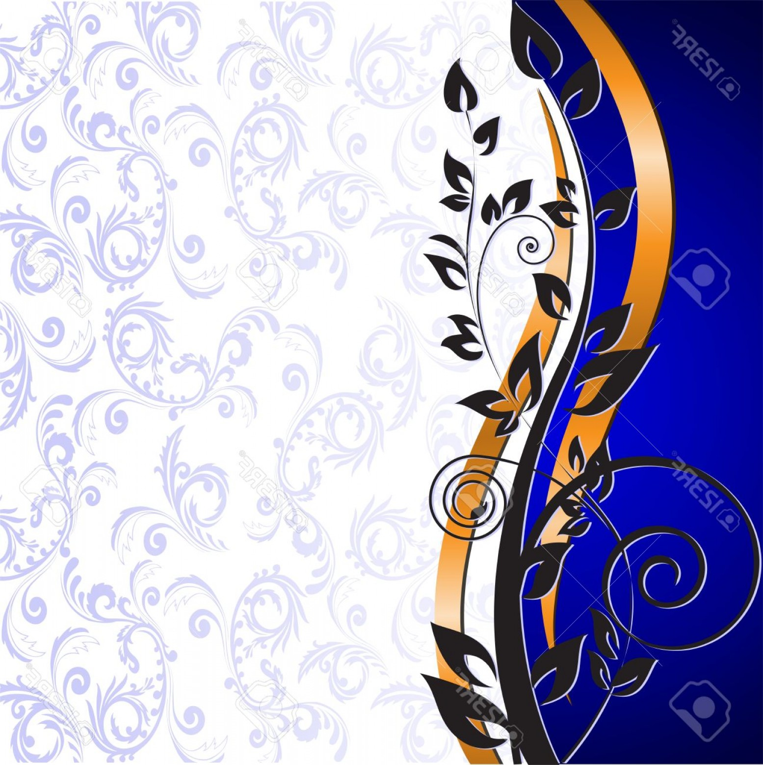 Gold And Blue Flower Vector: Photobeautiful Floral Pattern And Gold Ribbon On A Blue Background