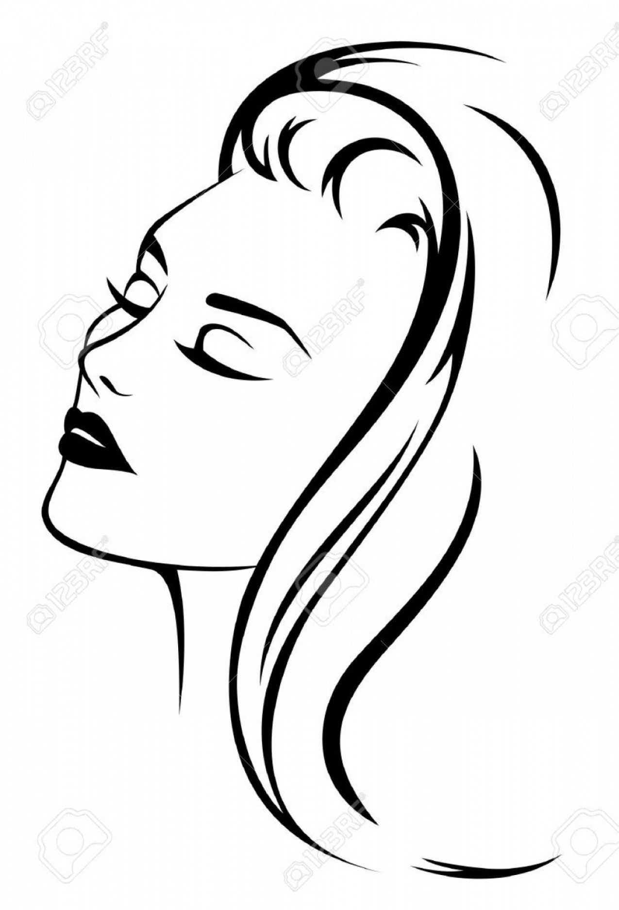 Girl Face Vector Art Black And White: Photobeautiful Woman Face With Long Hair Black And White Vector Illustration
