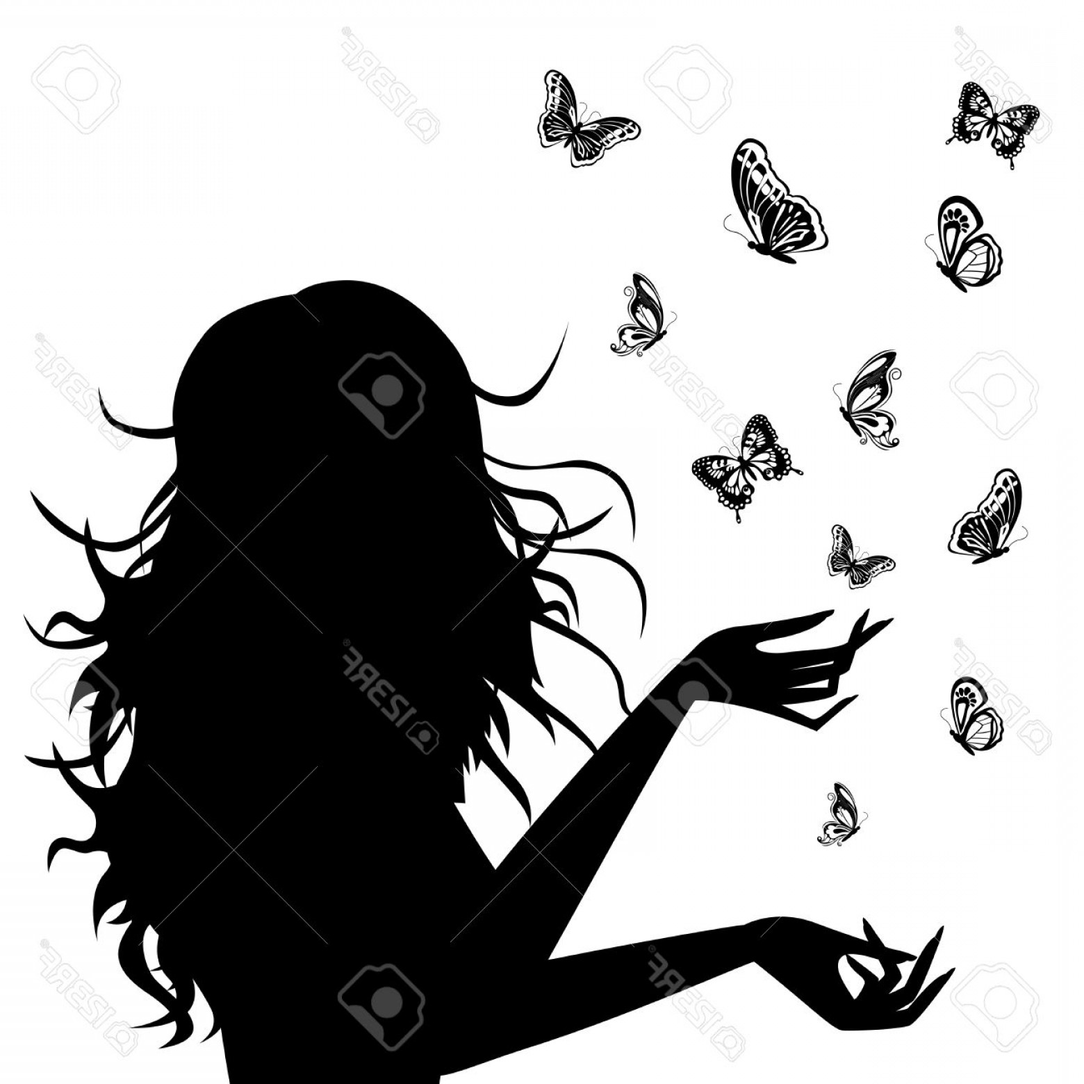 Young Woman Silhouette Vector: Photobeautiful Young Woman Silhouette With Butterflies Around Her Hand Drawing Black And White Vector Ill