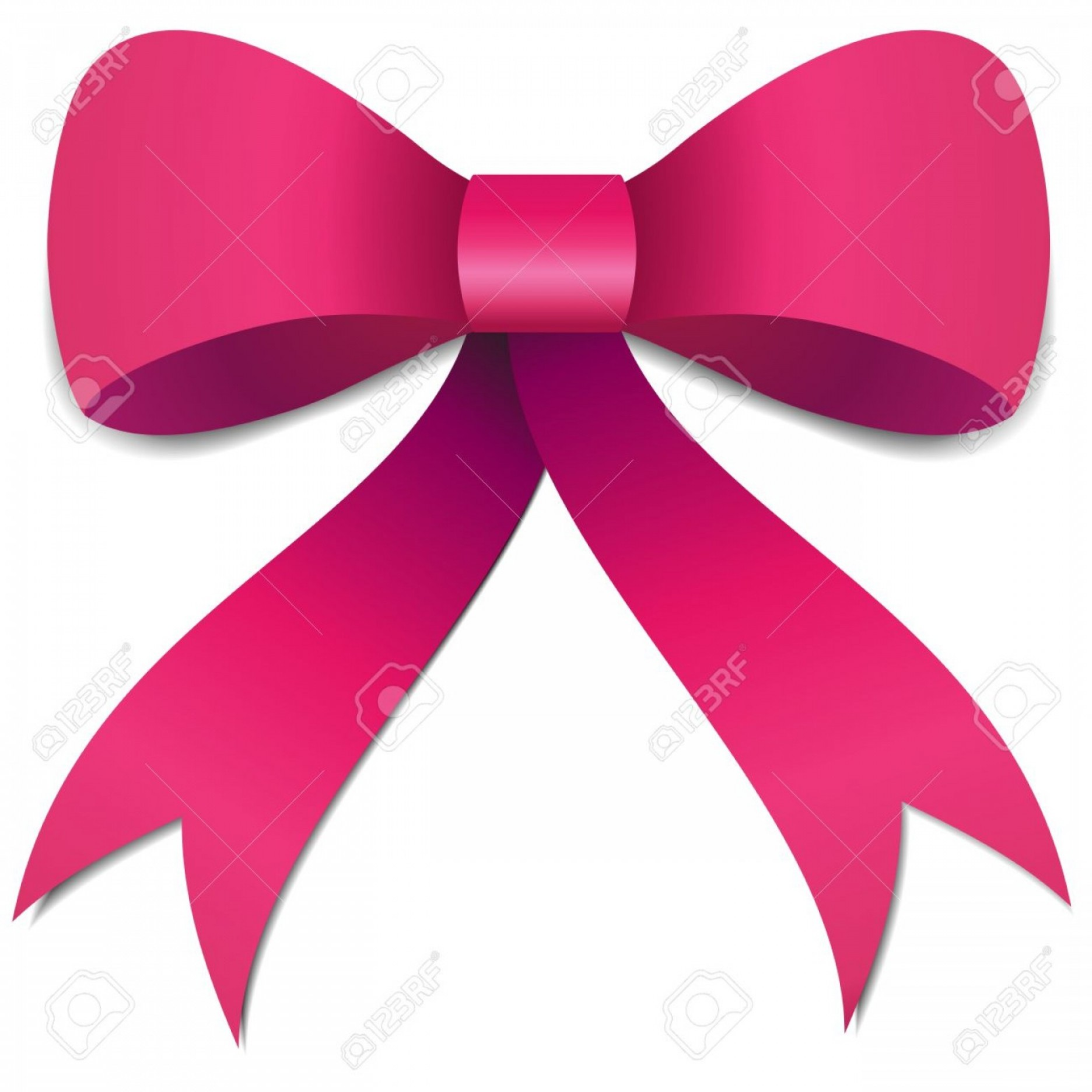 Pink Ribbon Vector Graphic: Photobig Pink Girls Bow Illustration With Gradients And Opacity Eps Version
