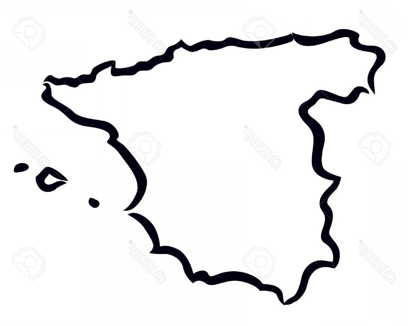 Spain Outline Vector: Photoblack Abstract Outline Of Spain Map