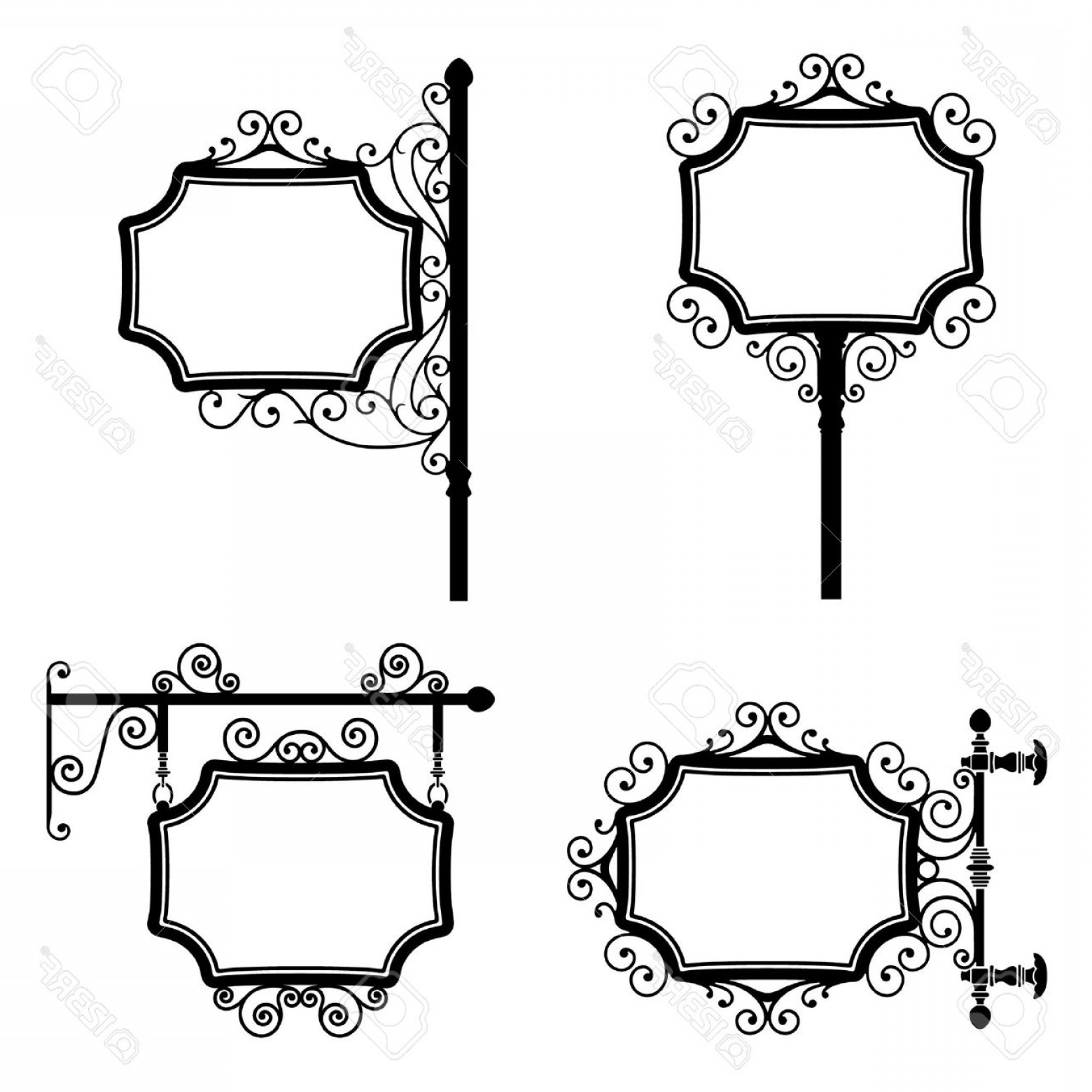 Vintage Sign Vector Clip Art: Photoblack And White Wrought Iron Vintage Signs Set