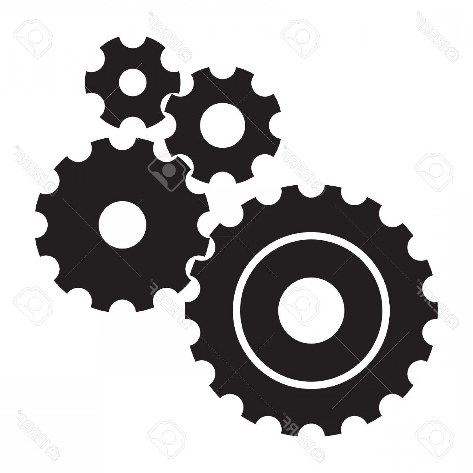 Vector Mechanical Clock Wheels: Photoblack Cogs Gears On White Background