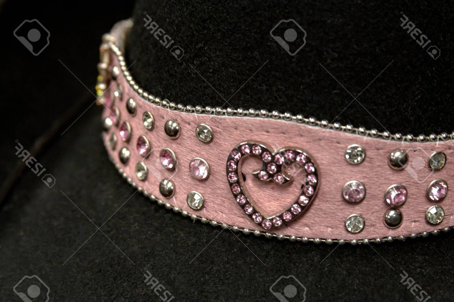 Vector Jeweled Dog Collar: Photoblack Cowboy Hat With Pink Band With Jeweled Pink Heart In Center