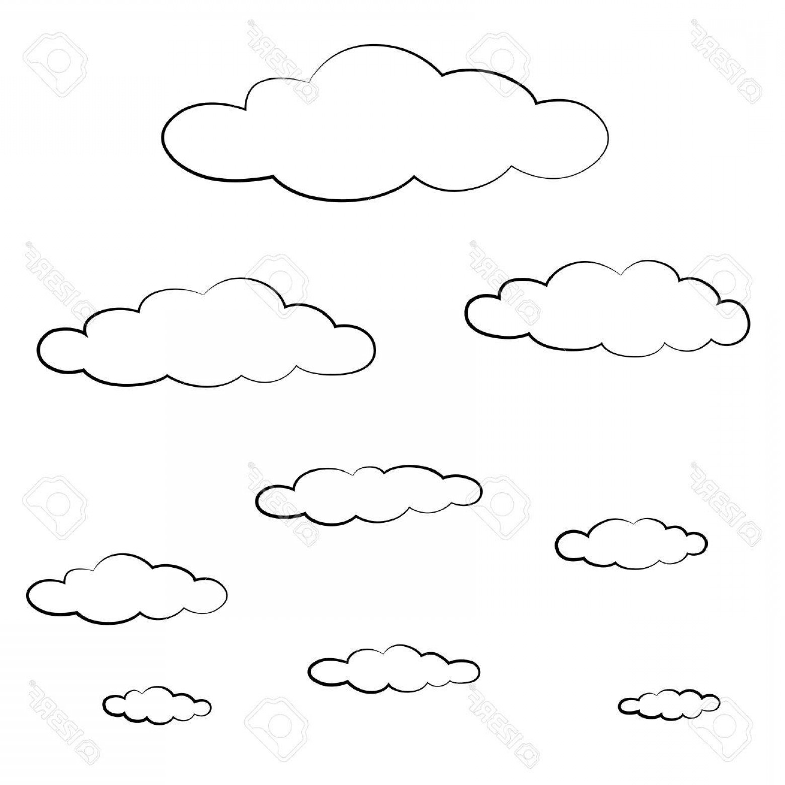 Cloud Outline Vector Black And White: Photoblack Outline Vector Cloud On White Background