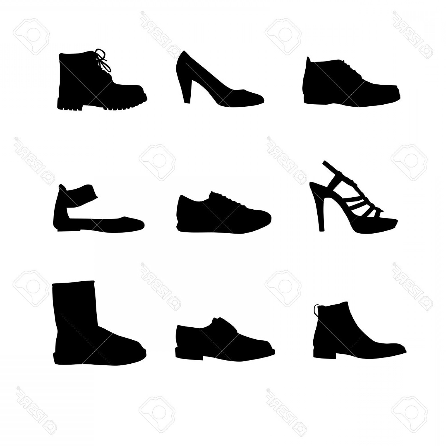 Sneaker Silhouette Vector: Photoblack Shoes Silhouettes On White Background
