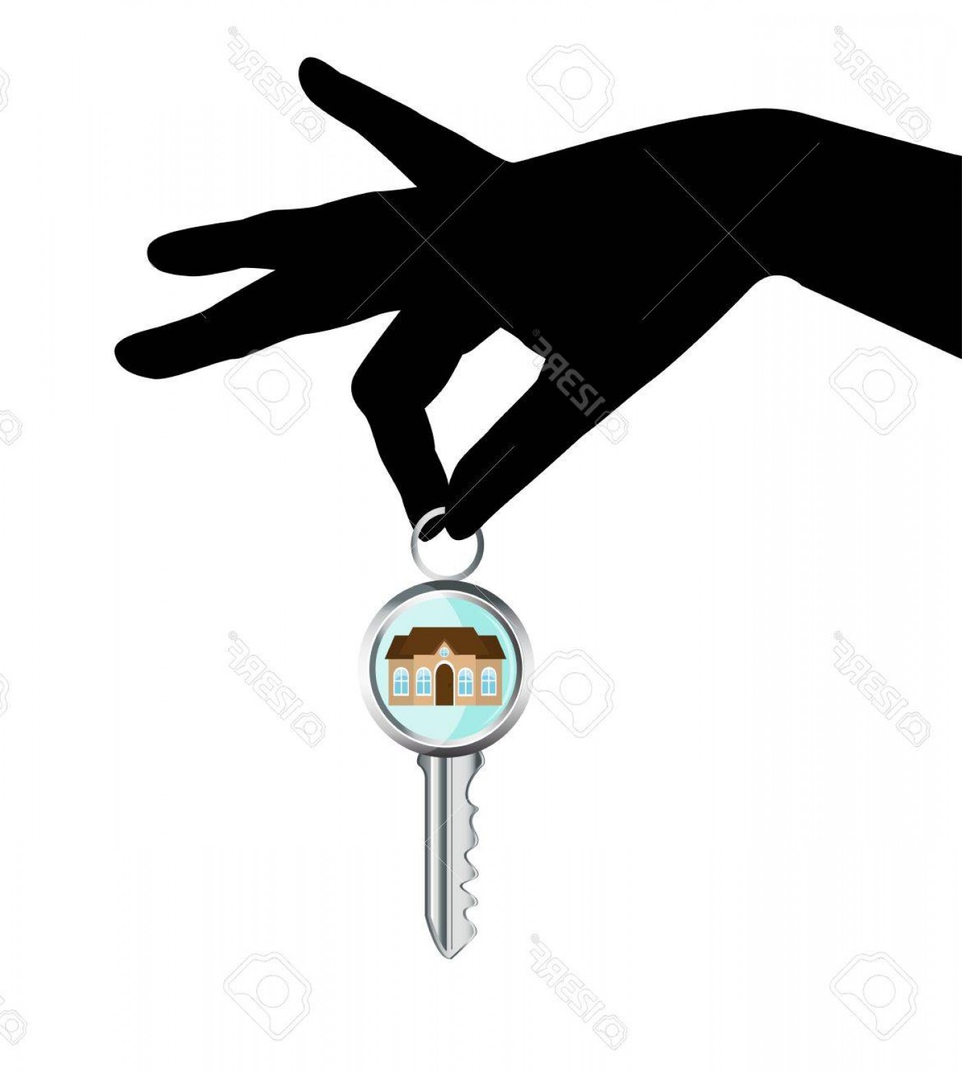 Hand With Ring Silhouette Vector: Photoblack Silhouette Of A Human Hand Holding A House Key