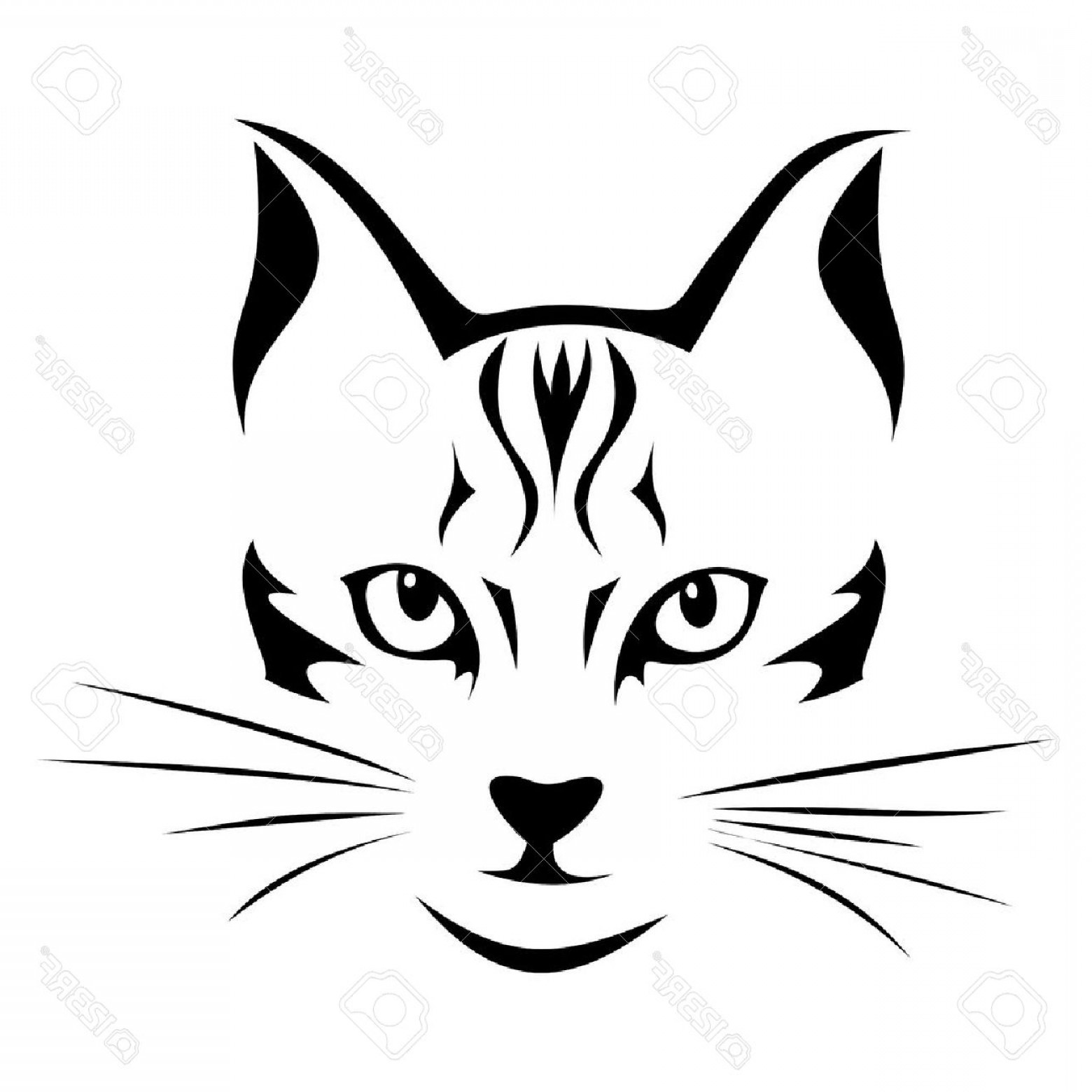 Malee Cat Head Silhouette Vector: Photoblack Silhouette Of Cat Vector Illustration