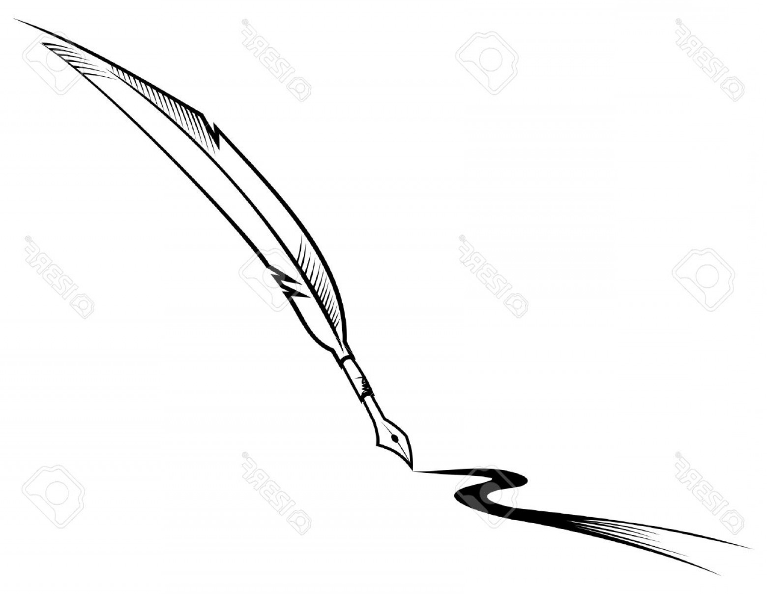 Quill Pen Vector: Photoblack Symbol Of Feather Pen Isolated On White