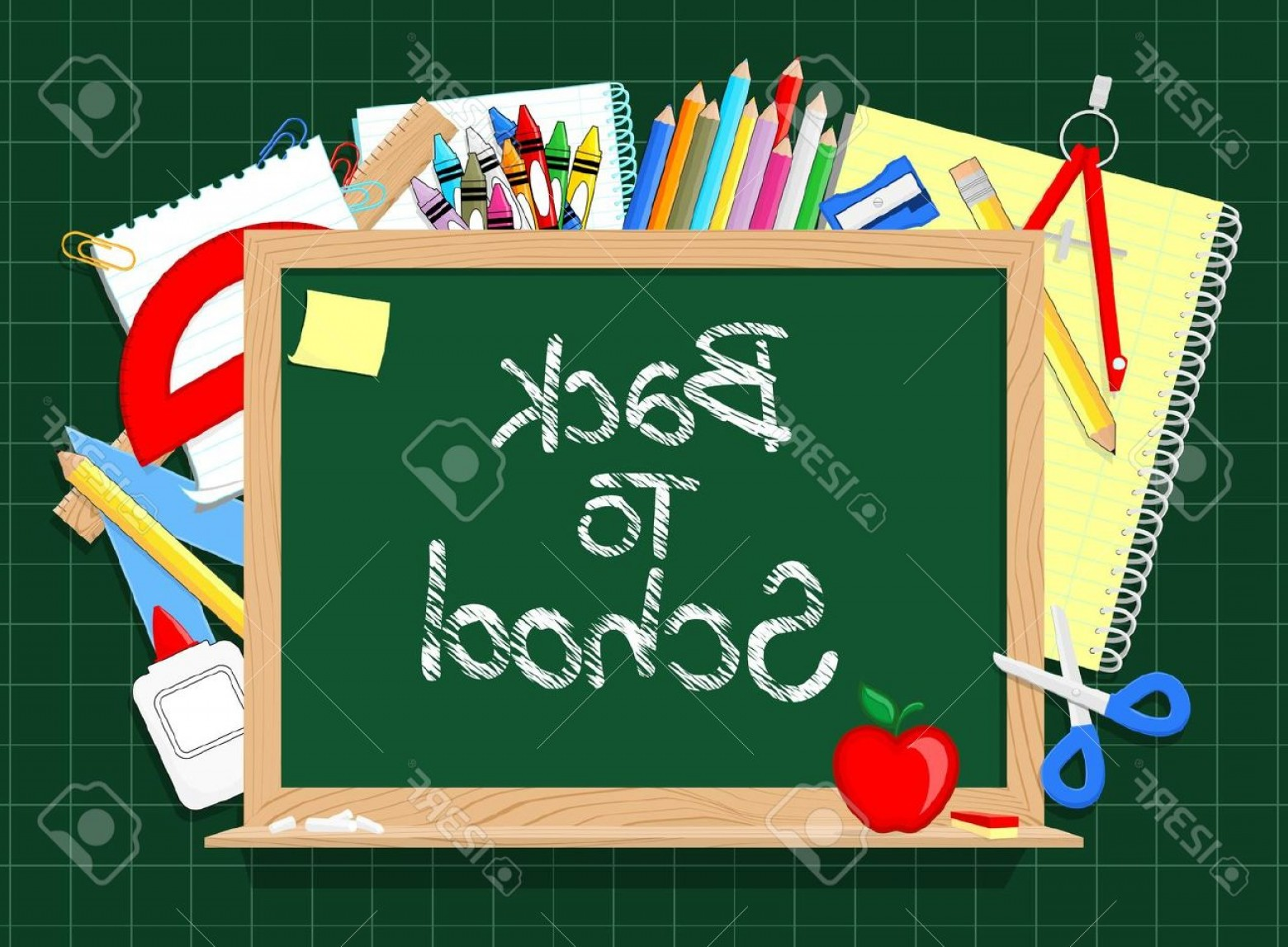 Individual School Supplies Vector: Photoblackboard And School Education Supplies Items Background In Vector Format Very Easy To Edit Individ