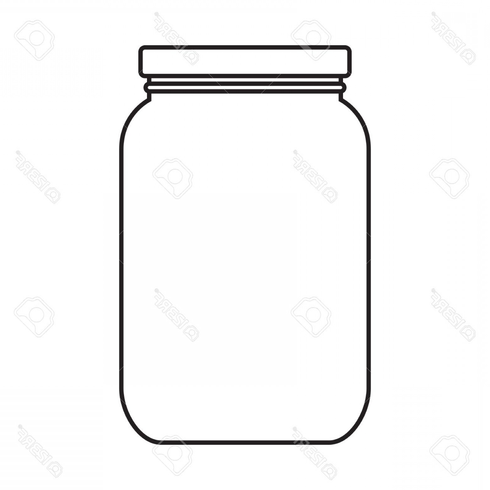 Mason Jar Outline Vector: Photoblank Jar With Cap Isolated On White Background
