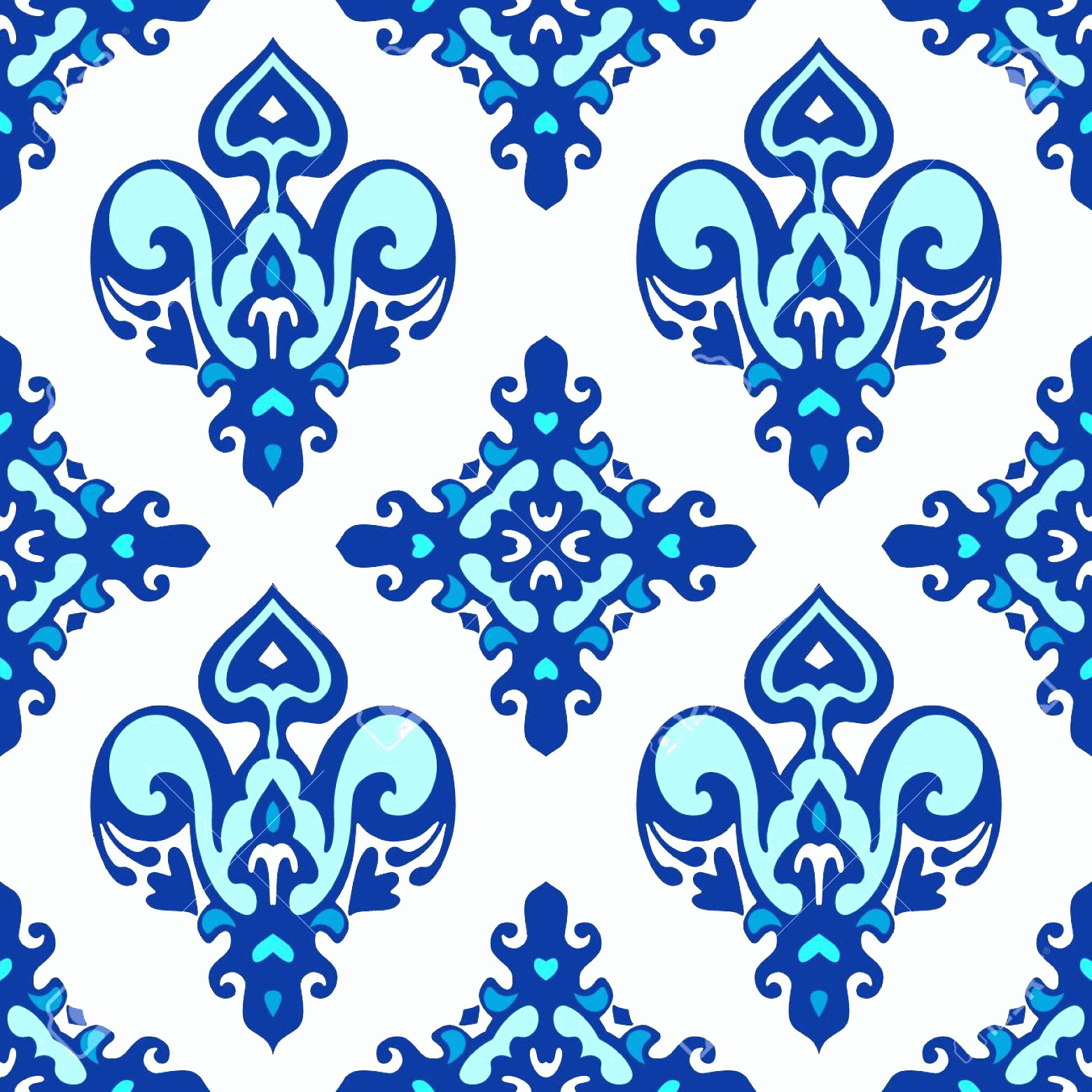 Blue And White Damask Vectors: Photoblue And White Damask Luxury Seamles Pattern Abstract Seamless Ornamental Vector Pattern For Fabric