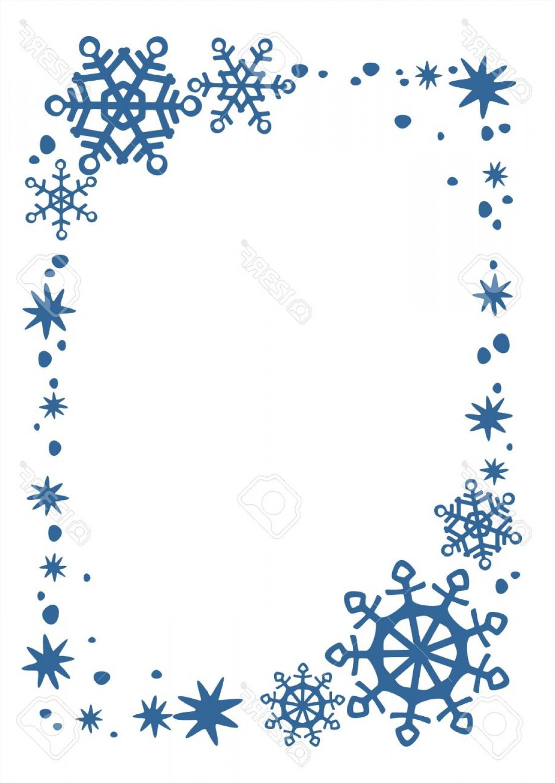 Snowflake Border Vector Art: Photoblue Snowflakes And Stars Border On A White Background Christmas Illustration