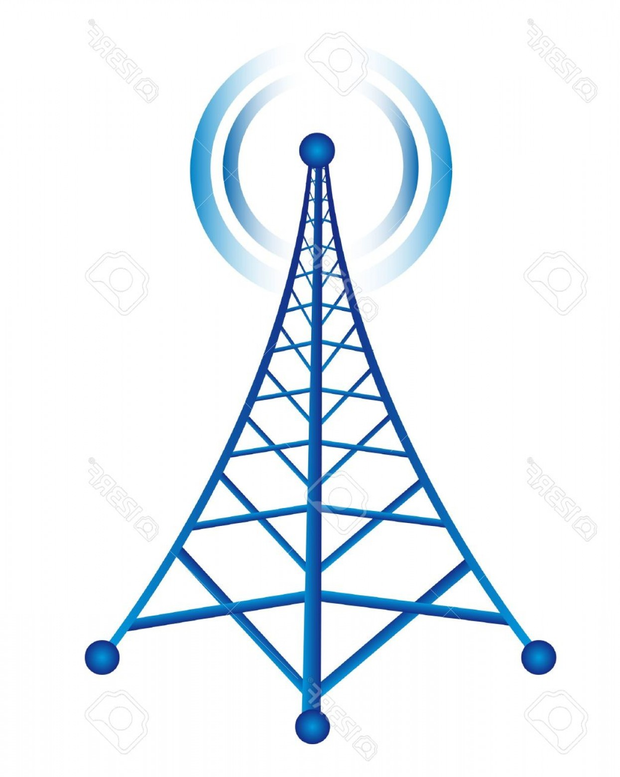 Vector Phone Tower: Photoblue Tower With Radio Isolated Over White Background Vector