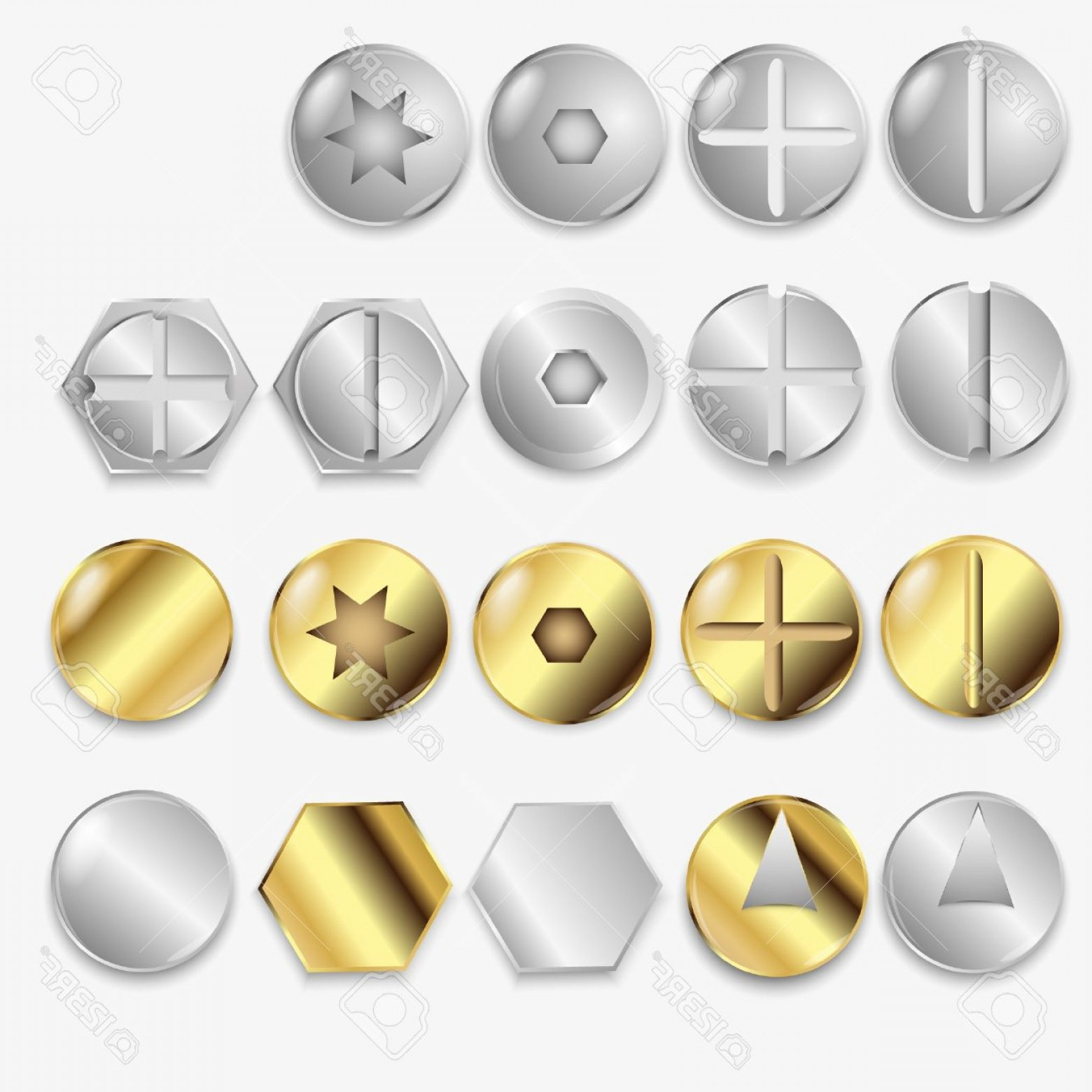Screw Bolt Head Vector Art: Photobolts And Screws Isolated On White Background Illustration