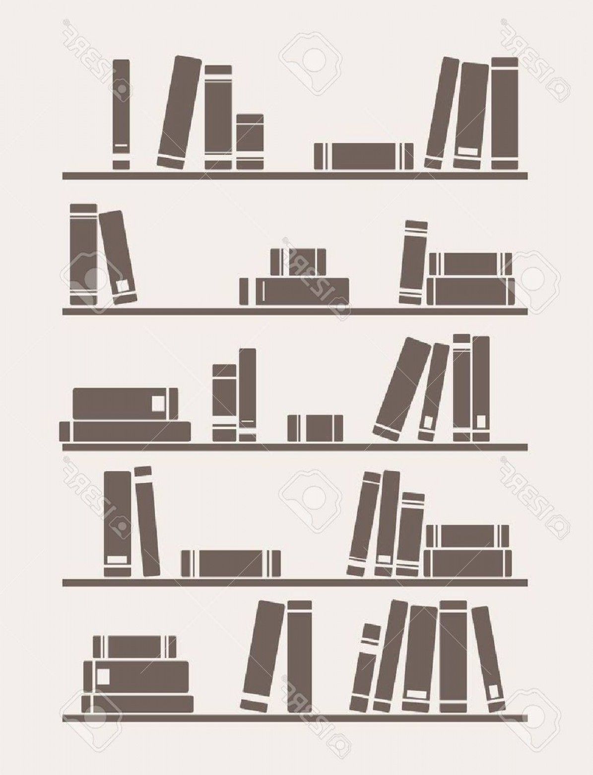 Vector Vintage Shelf: Photobooks On The Shelf Simply Retro Illustration Vintage Library Objects For Decorations Background Text