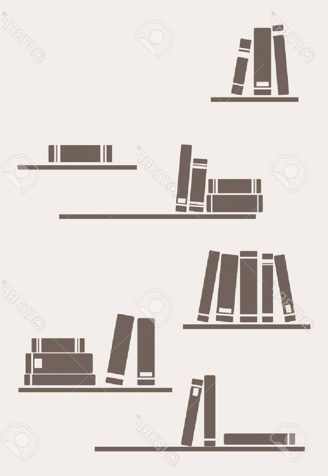 Vector Vintage Shelf: Photobooks On The Shelves Simply Retro Illustration Vintage Objects For Decorations Background Textures O