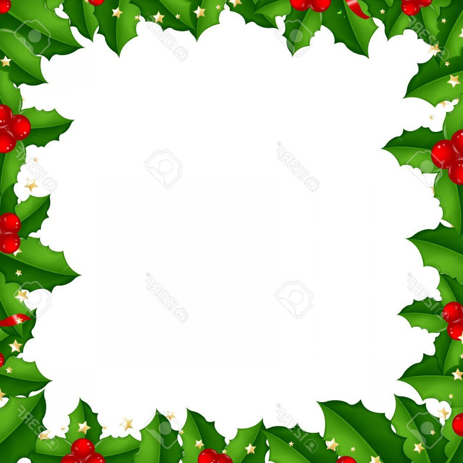 Holly Berry Vector Border: Photoborder With Holly Berry Isolated On White Background With Gradient Mesh Vector Illustration
