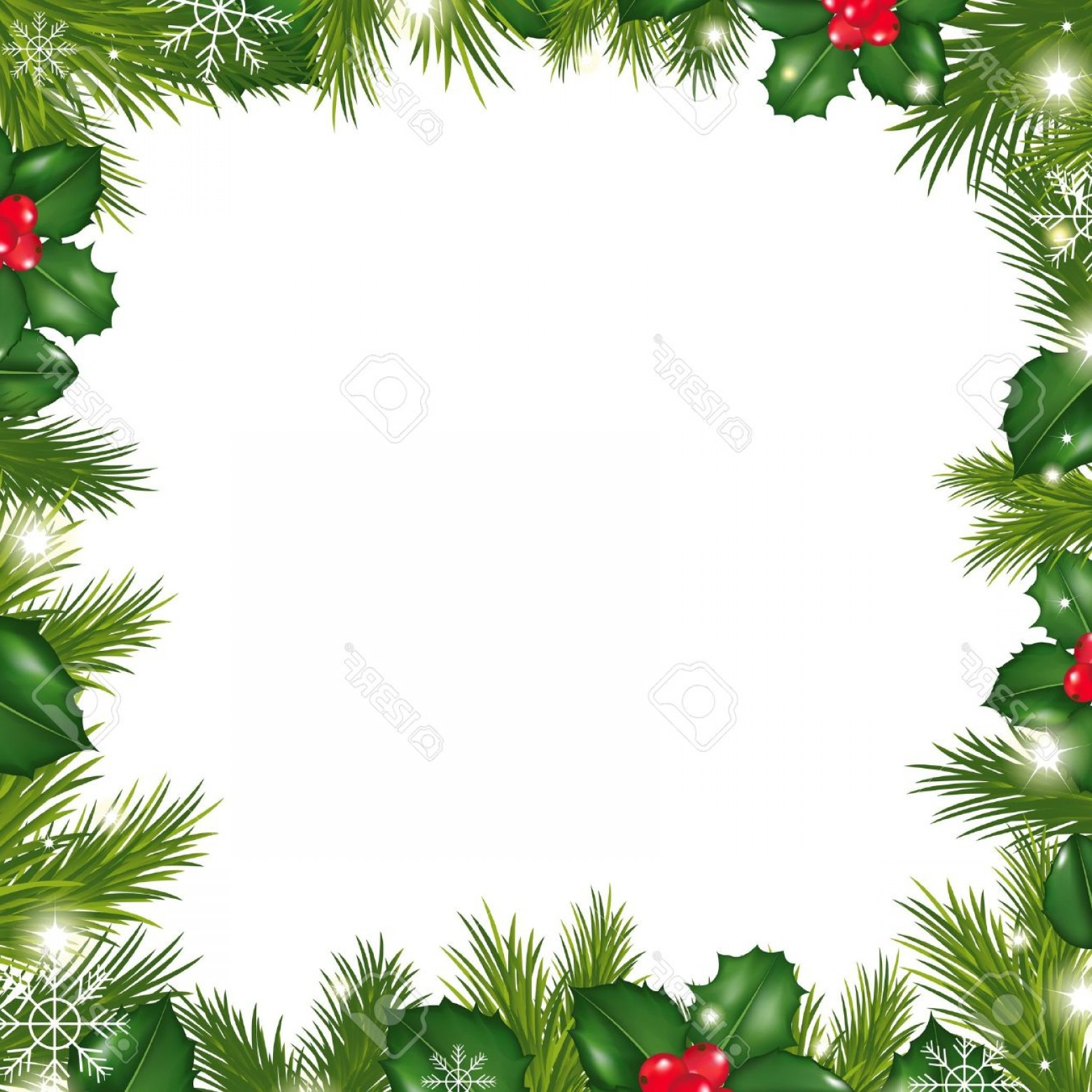 Holly Berry Vector Border: Photoborders With Snowflakes And Holly Berry Illustration