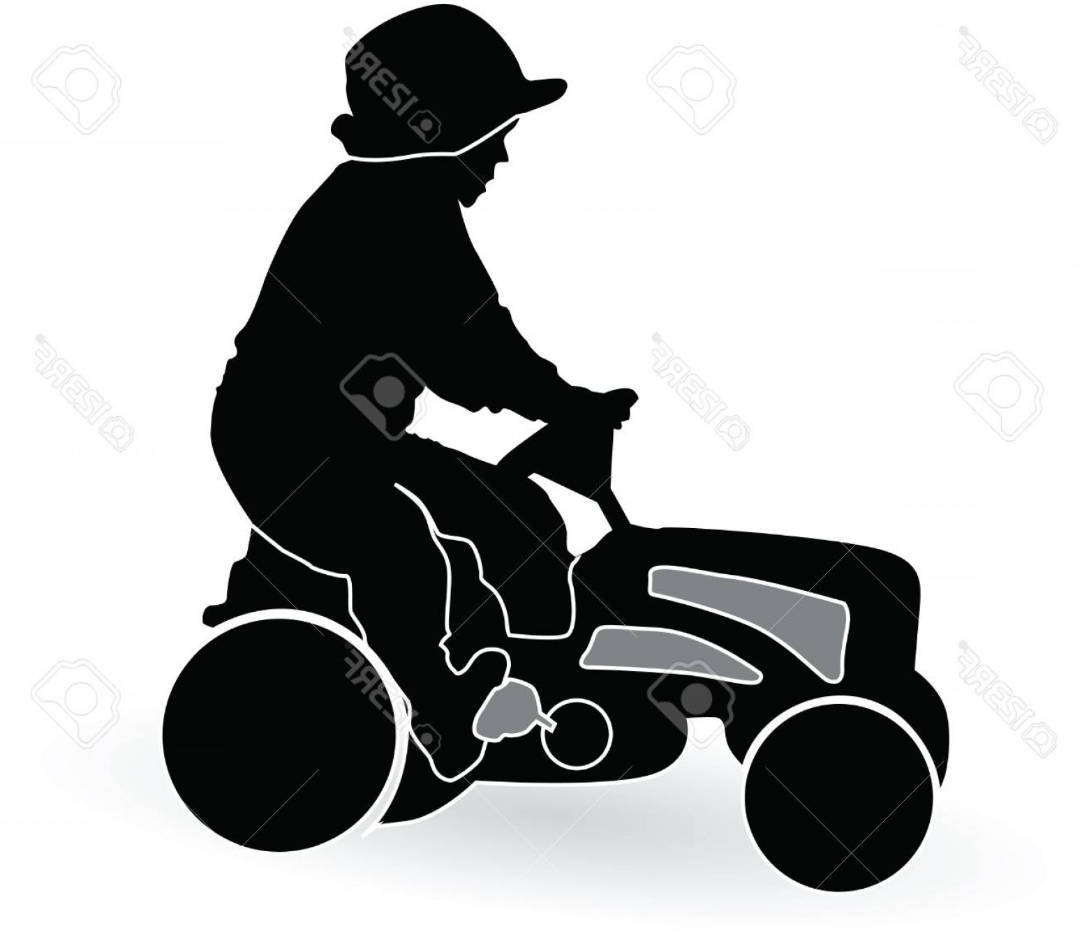 Tractor Silhouette Vector Art: Photoboy Driving A Tractor Silhouette Vector