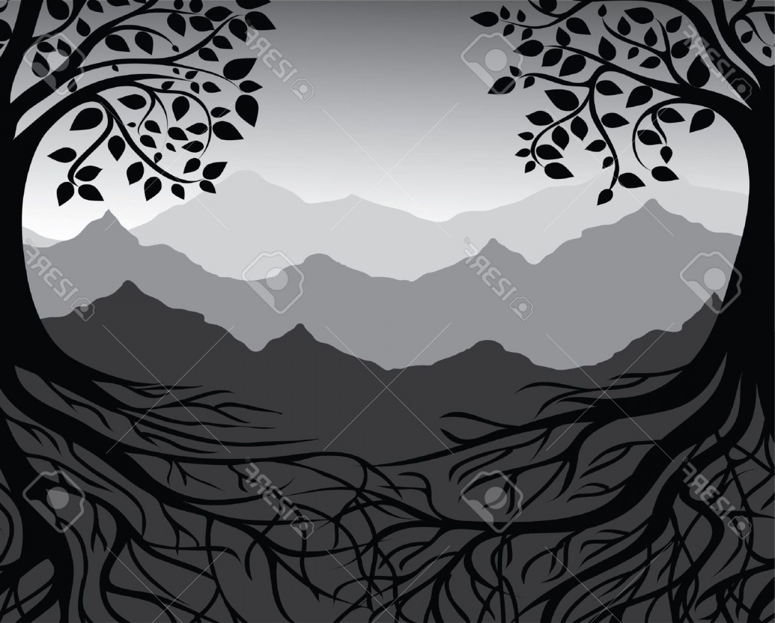 White Mountain Silhouette Vector Free: Photobranch And Roots Of Tree Black And White Mountain