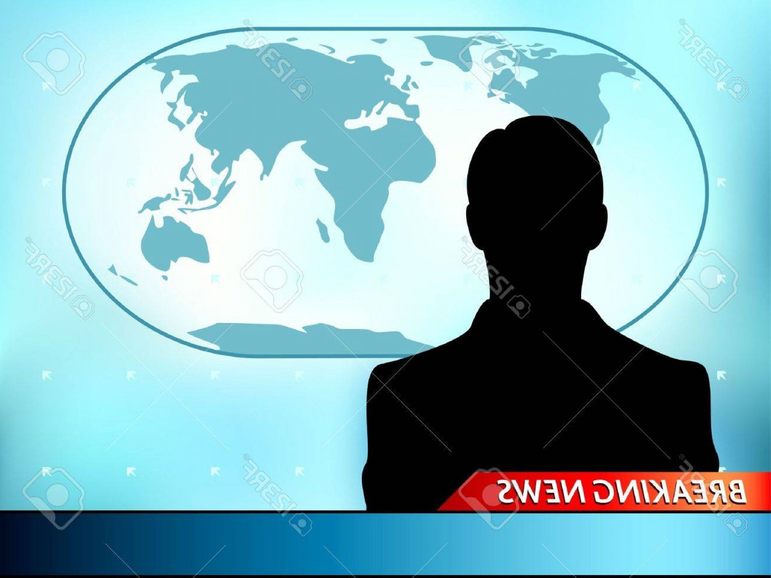 Abstract Vector Art Globe TV: Photobreaking News Tv Background With Man Reporter