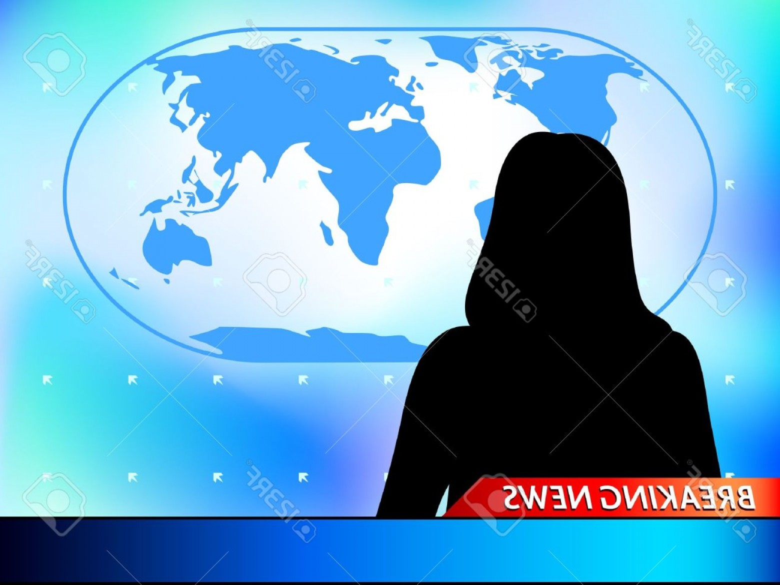 Abstract Vector Art Globe TV: Photobreaking News Tv Background With Woman Reporter