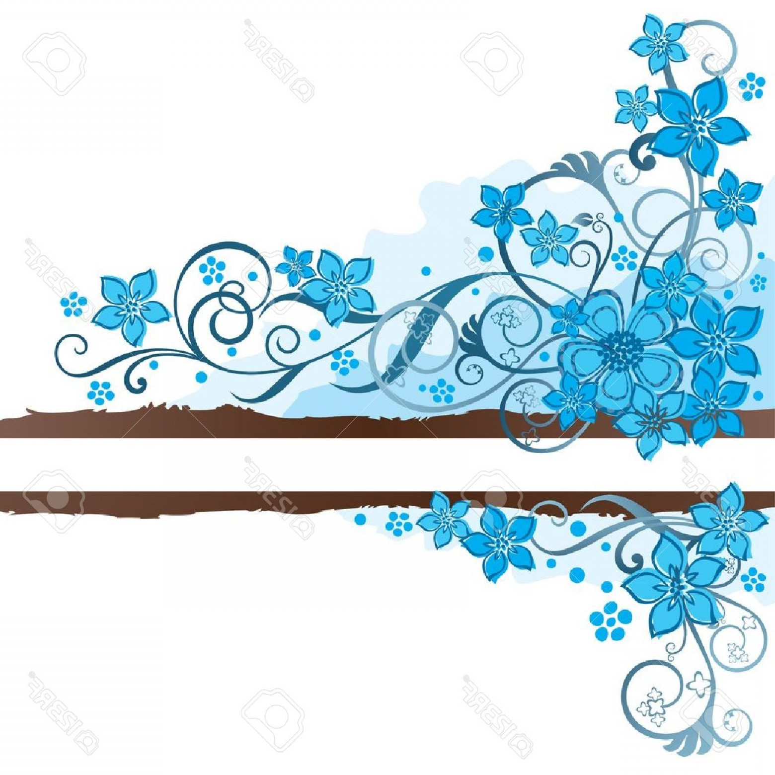 Turquoise Flower Vector: Photobrown Grunge Banner With Turquoise Flowers And Swirls