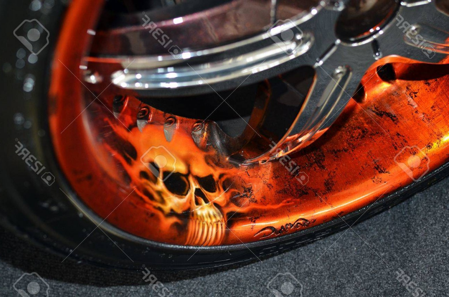 Airbrush Flaming Skull Vectors: Photobucharest Romania October Custom Airbrushed Rims With Cracked Texture And Skull Painting Dis
