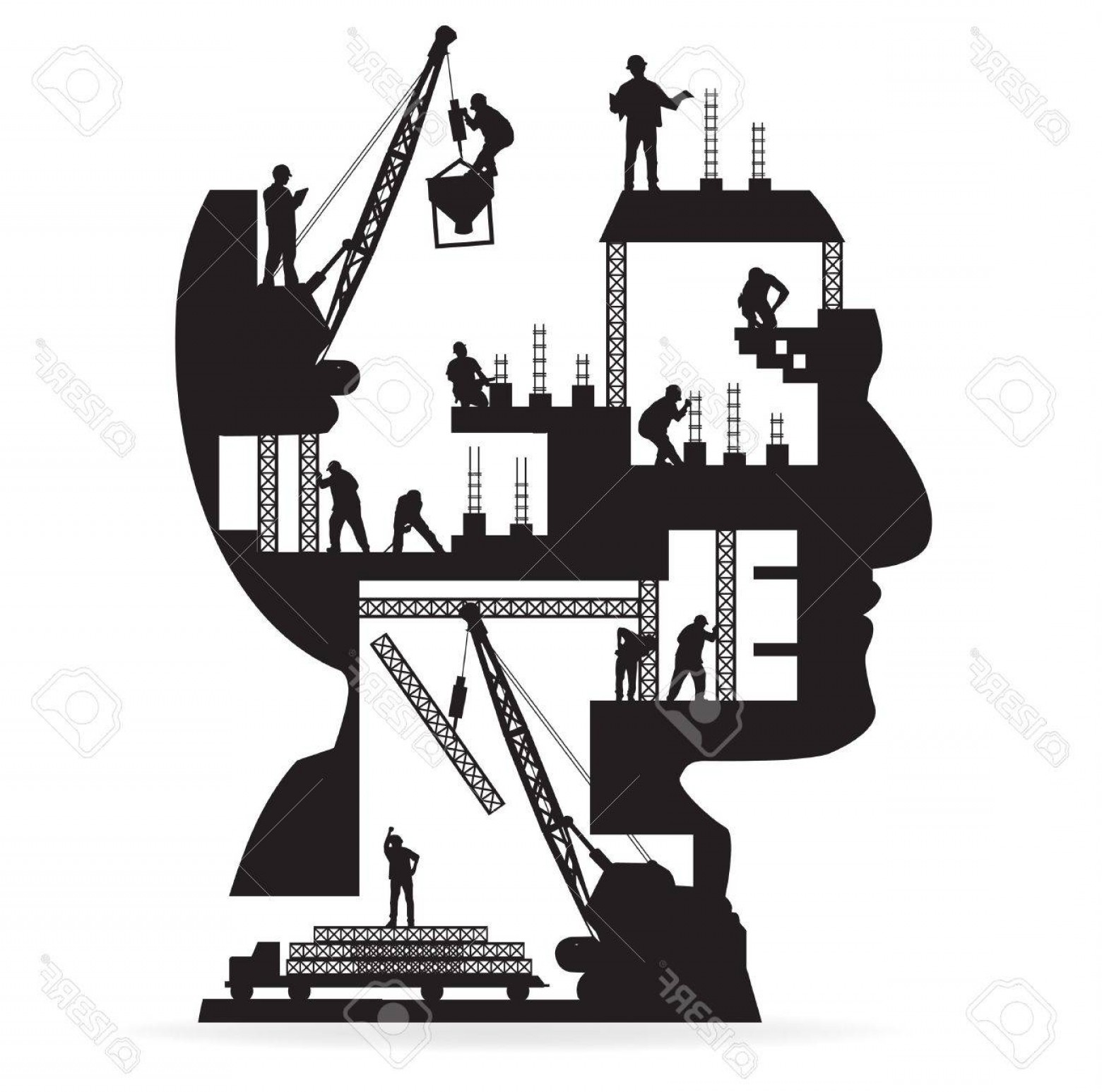 Vector Under Construction Template: Photobuilding Under Construction With Workers In Silhouette Of A Head Vector Illustration Template Design
