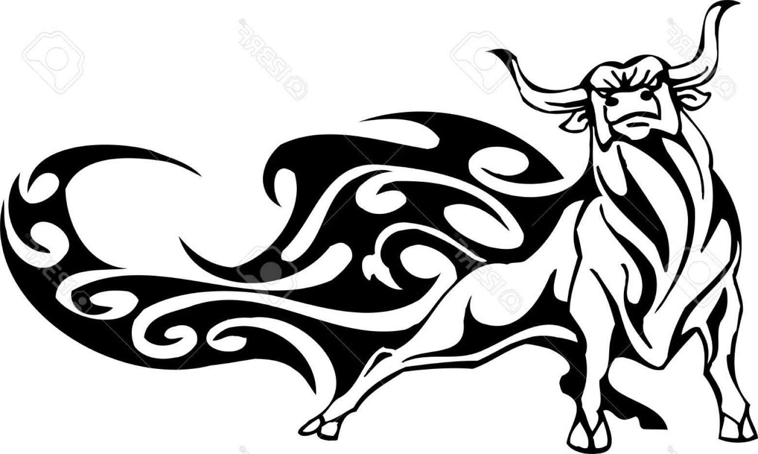 Taurus Vector: Photobull In Tribal Style Vector Image