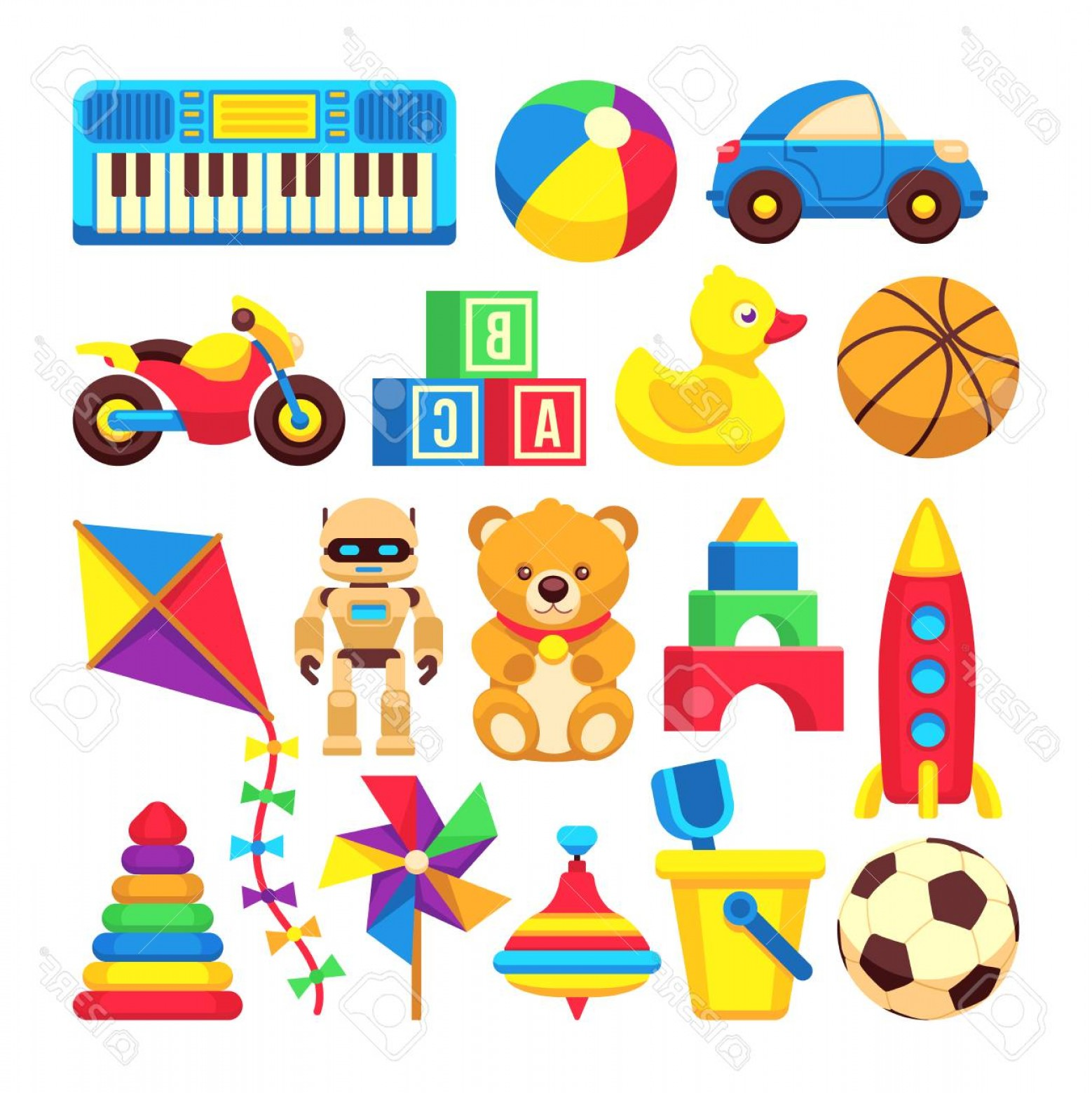 Baby Toy Vector: Photocartoon Children Toys Vector Icons Isolated On White Cartoon Baby Toys Ball And Bear Illustration Of