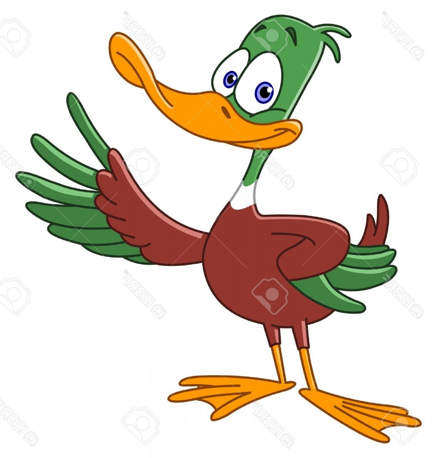 Cartoon Duck Vector: Photocartoon Duck Presenting With His Wing