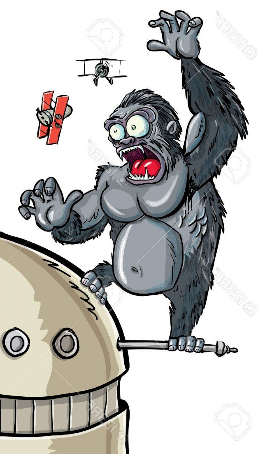 Drawings Of King Kong Vector: Photocartoon King Kong Hanging On A Skyscraper Isolated
