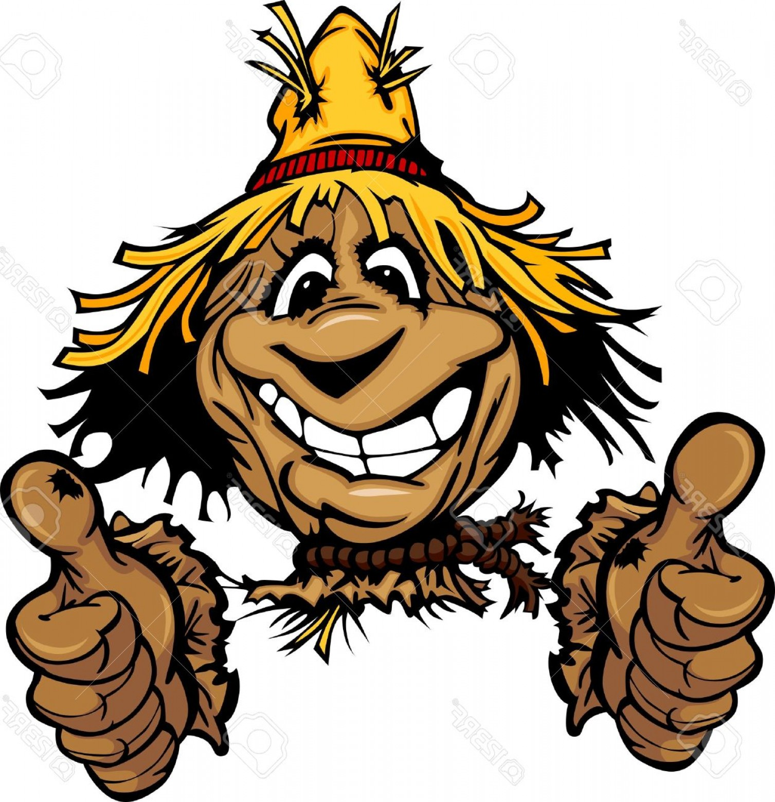 Scarecrow Vector Art: Photocartoon Scarecrow With Smiling Face Wearing Straw Hat Giving Thumbs Up Gesture Vector Image