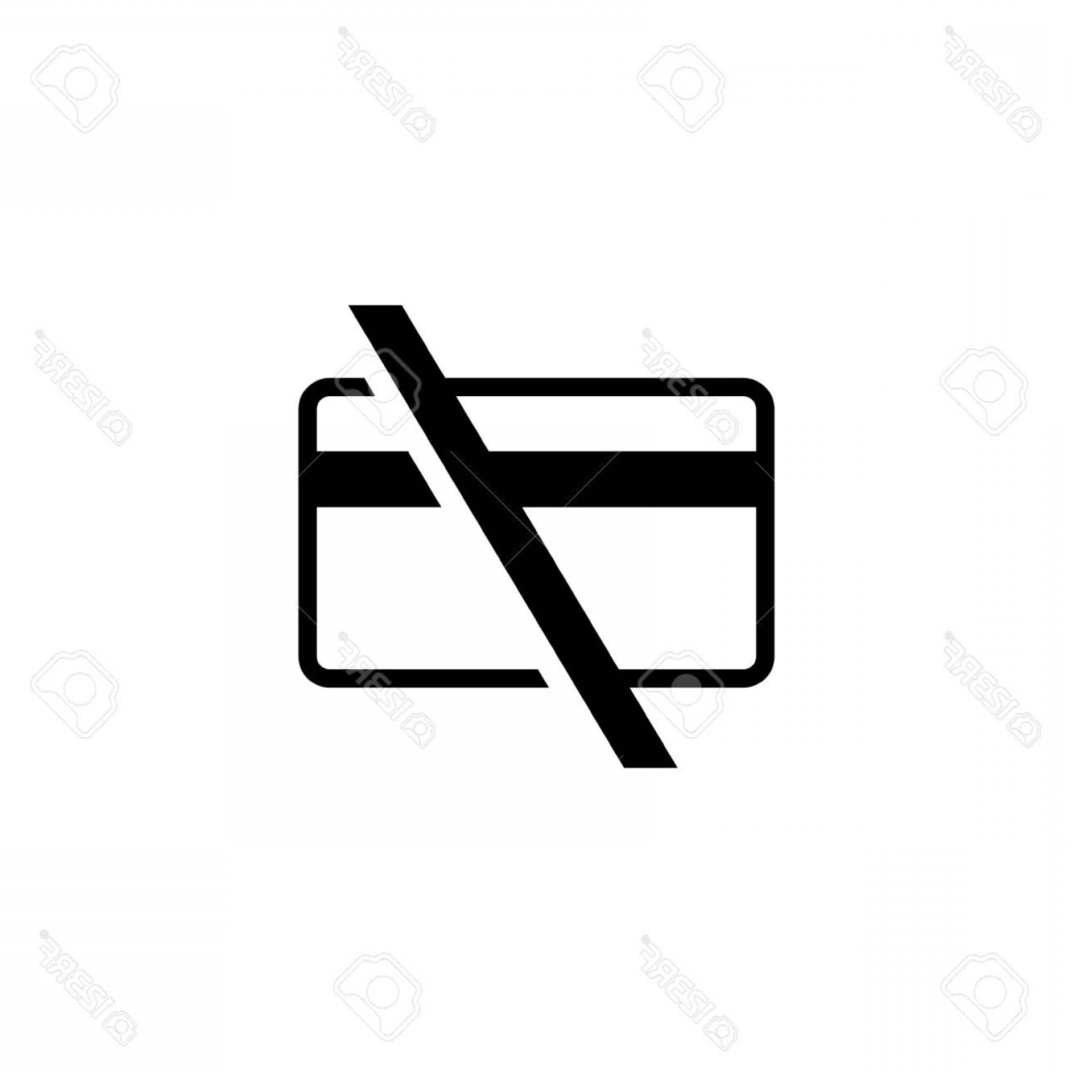 Vector Cards Accepted: Photocash Only No Credit Cards Accepted Flat Vector Icon Illustration Simple Black Symbol On White Backgr