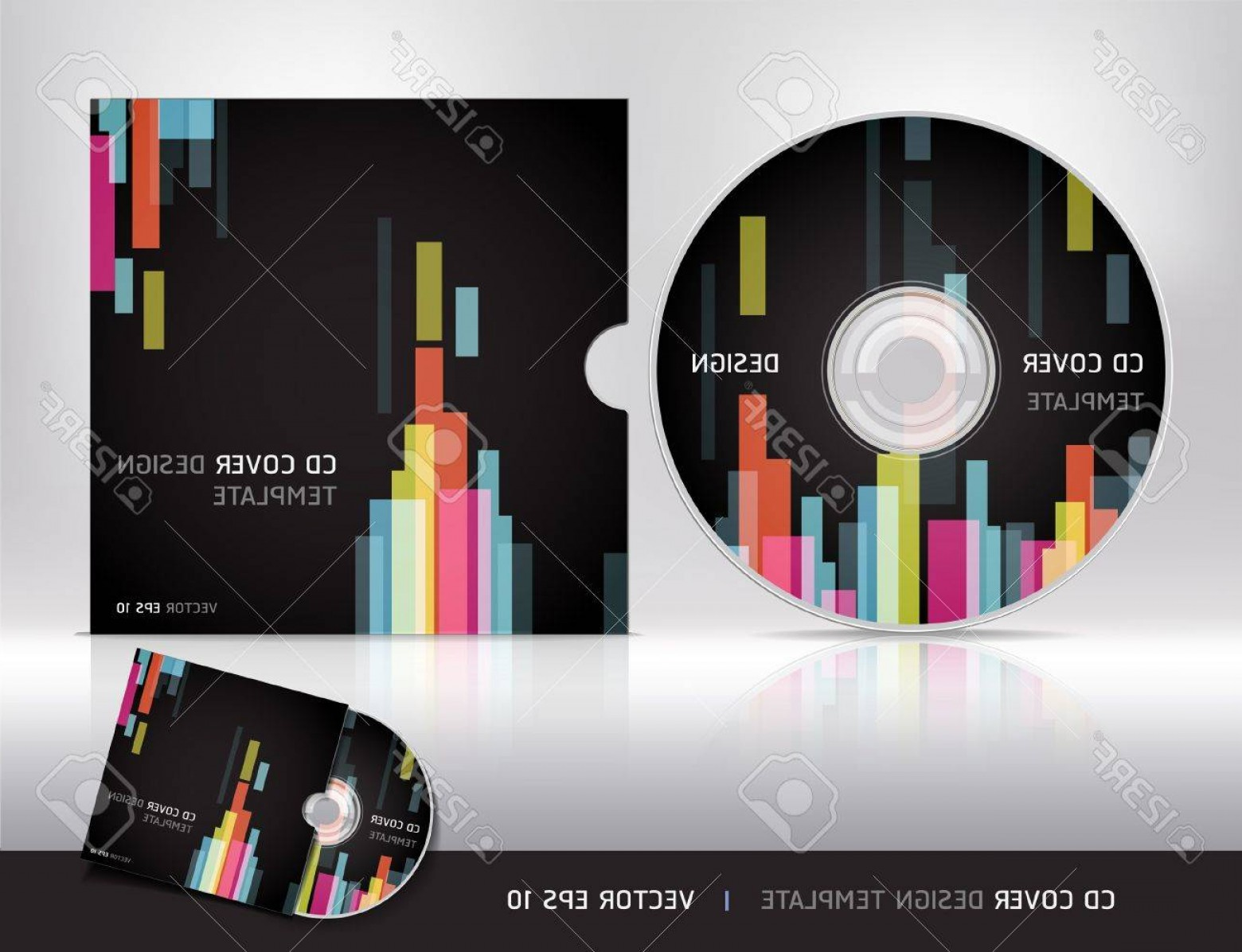 CD Label Template Vector: Photocd Cover Design Template Abstract Background Vector Illustration