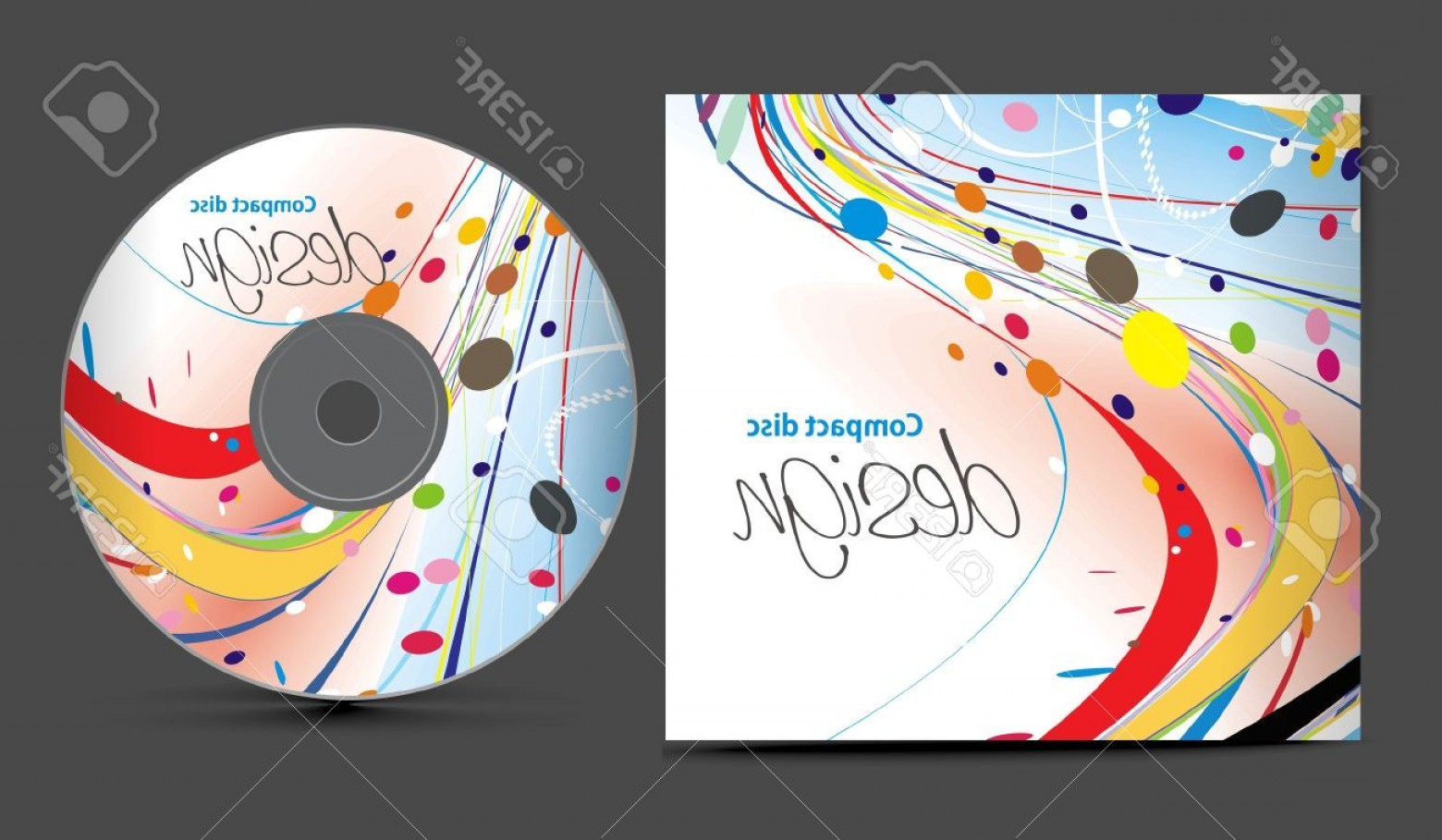 CD Label Template Vector: Photocd Cover Design Template With Copy Space Illustration