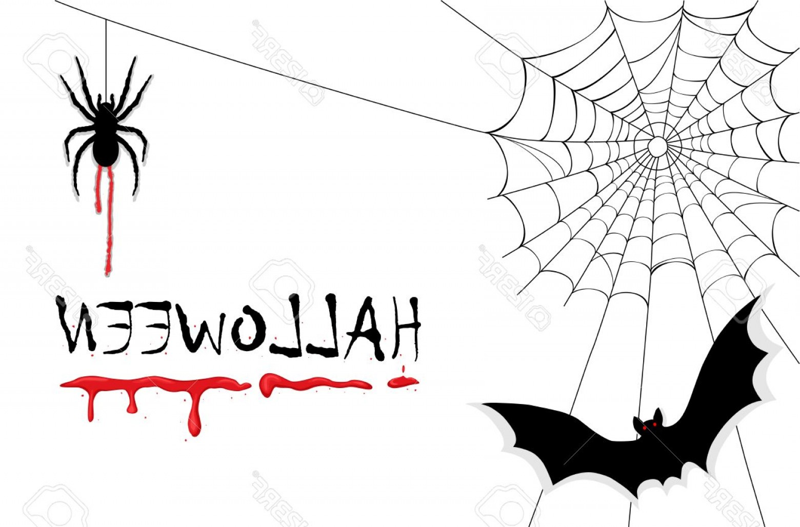 Easy Spider Vector Illustration: Photocelebrating Halloween With Creepy Vampires Bats Spiders And Dripping Blood Ai No Effects No Filter