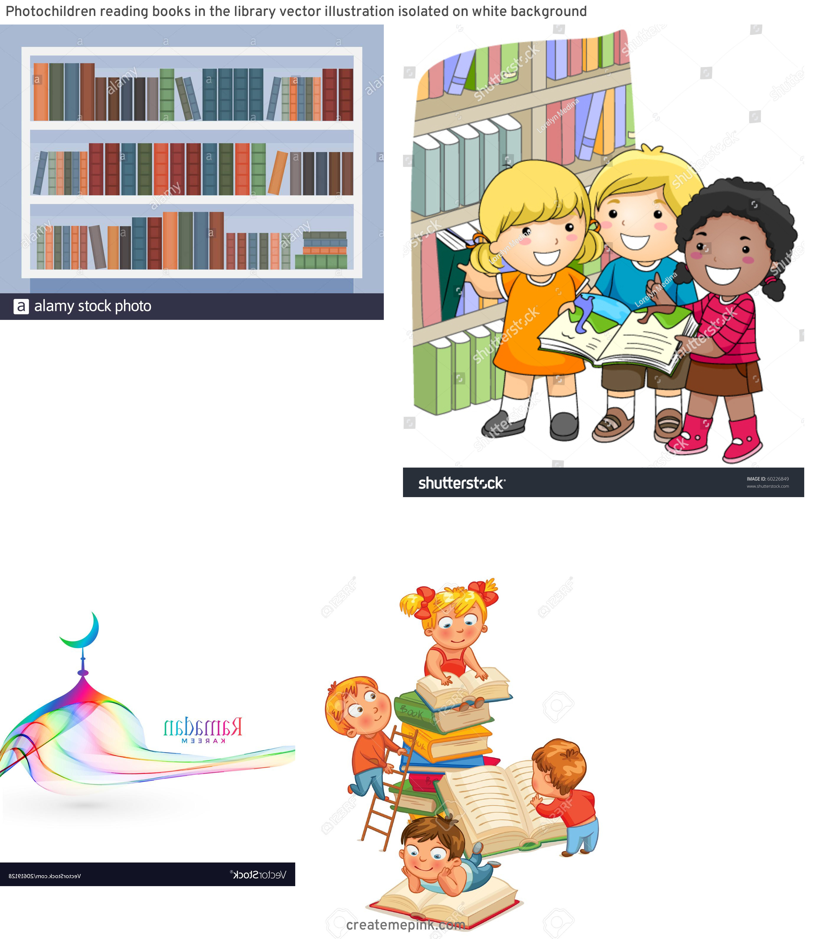 Library Vector Art: Photochildren Reading Books In The Library Vector Illustration Isolated On White Background