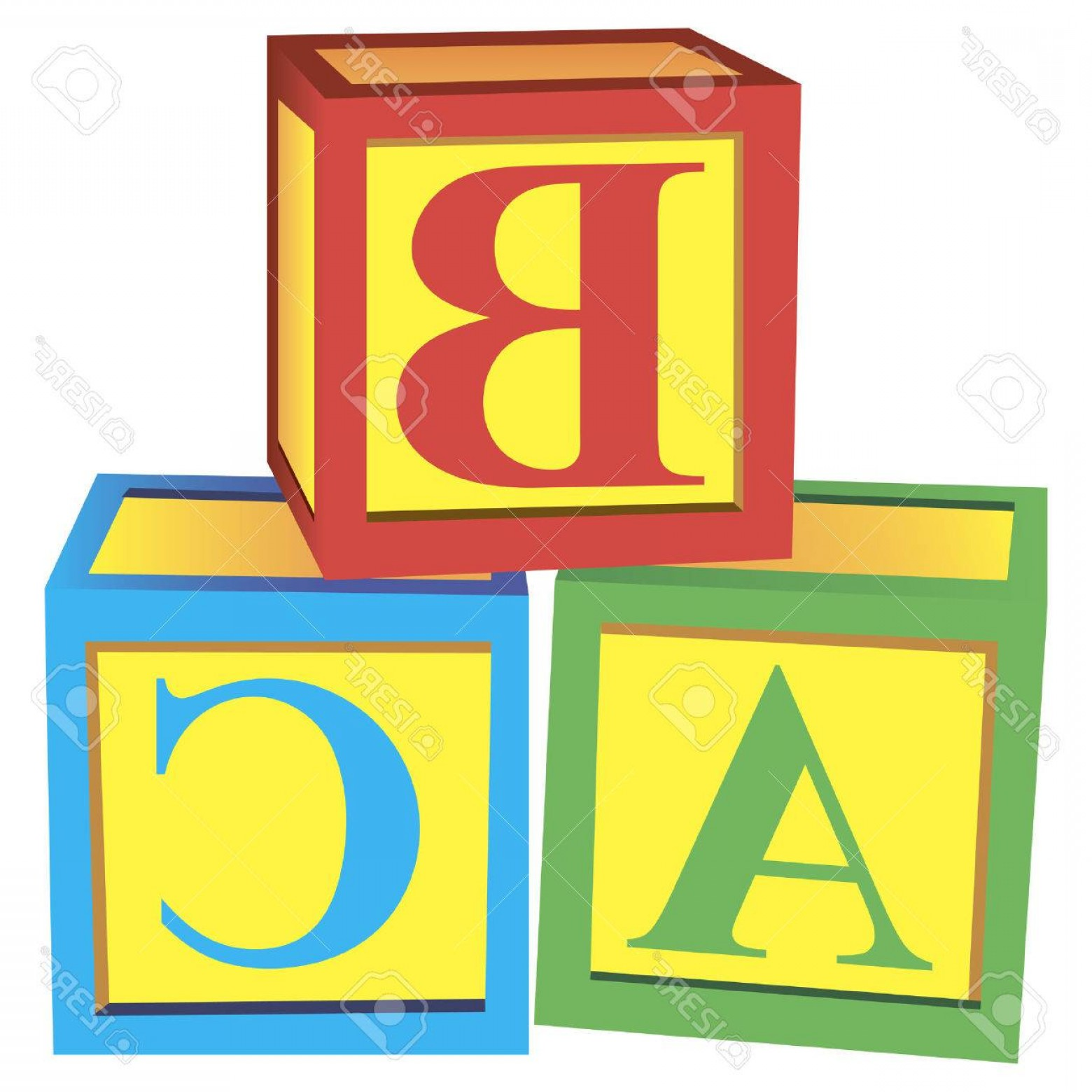 Vector Block Play: Photochildren With Alphabet Blocks For Learning And Play Vector Illustration