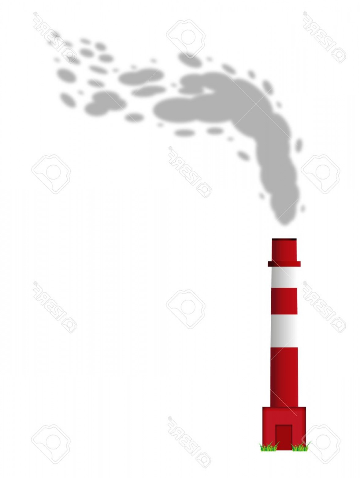 Vector Smokestack: Photochimney With Red And White Color And Gray Smoke On White Background