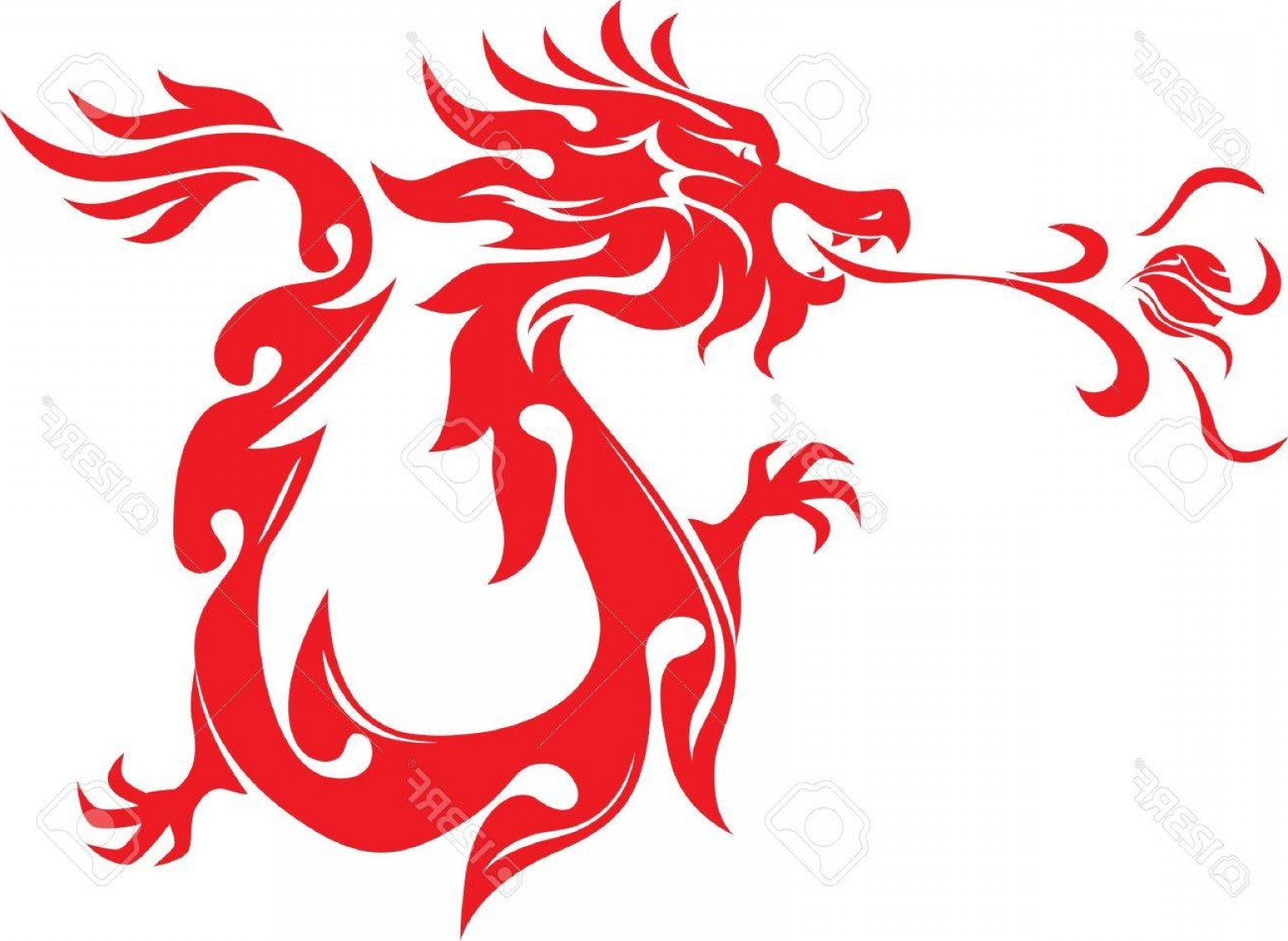 Dragon Fire Vector: Photochinese Style Dragon Breathing Fire Ball Art