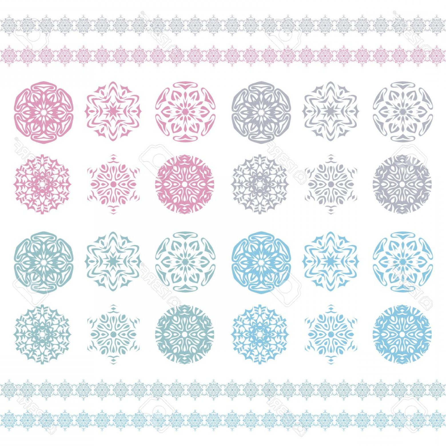 Snowflake Border Vector Art: Photochristmas Background Snowflakes Pattern Snow Flake Silhouette Pastel Ornament Snowflakes Border Holi
