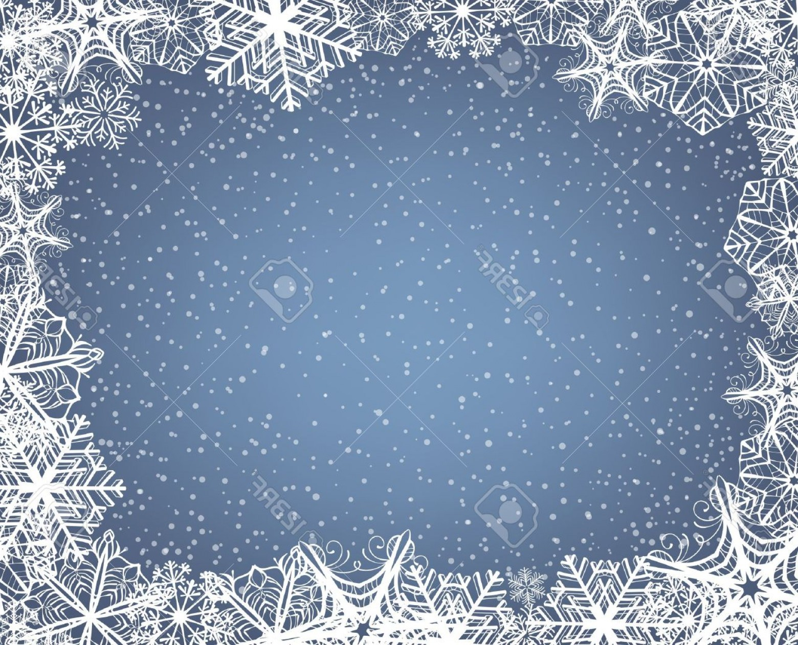 Snow Falling Vector Free: Photochristmas Background With Frame Of Snowflakes And Falling Snow