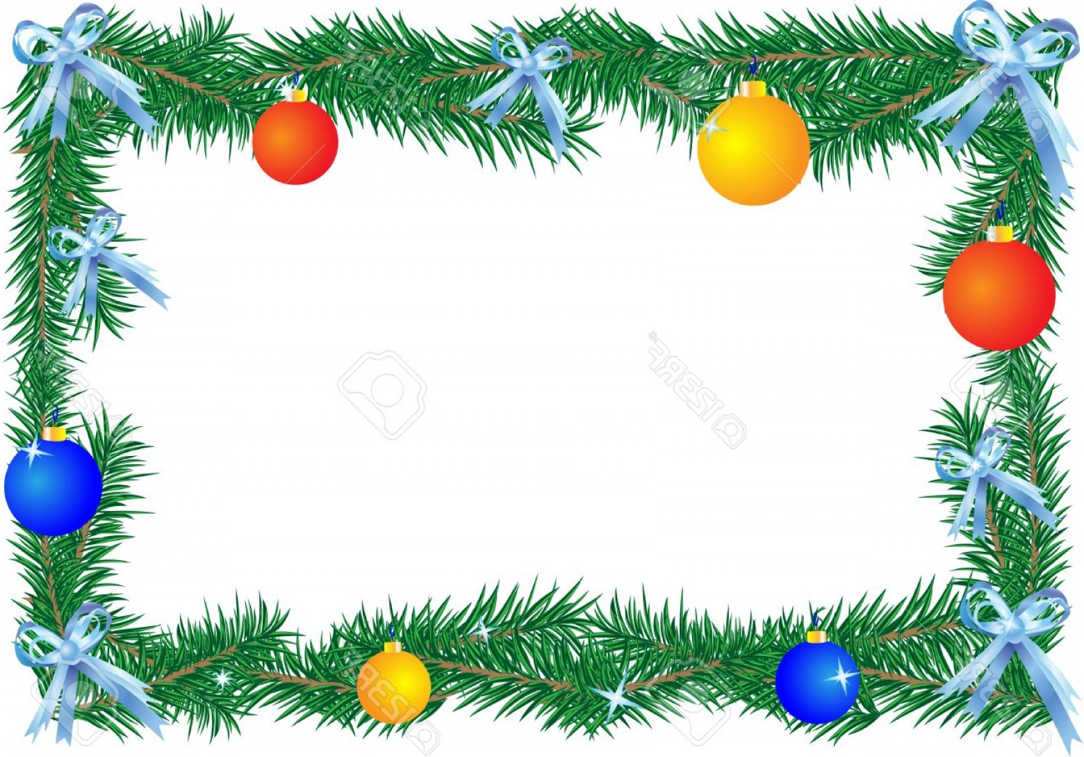 Christmas Horizontal Vector: Photochristmas Border On The White Background Horizontal Illustration